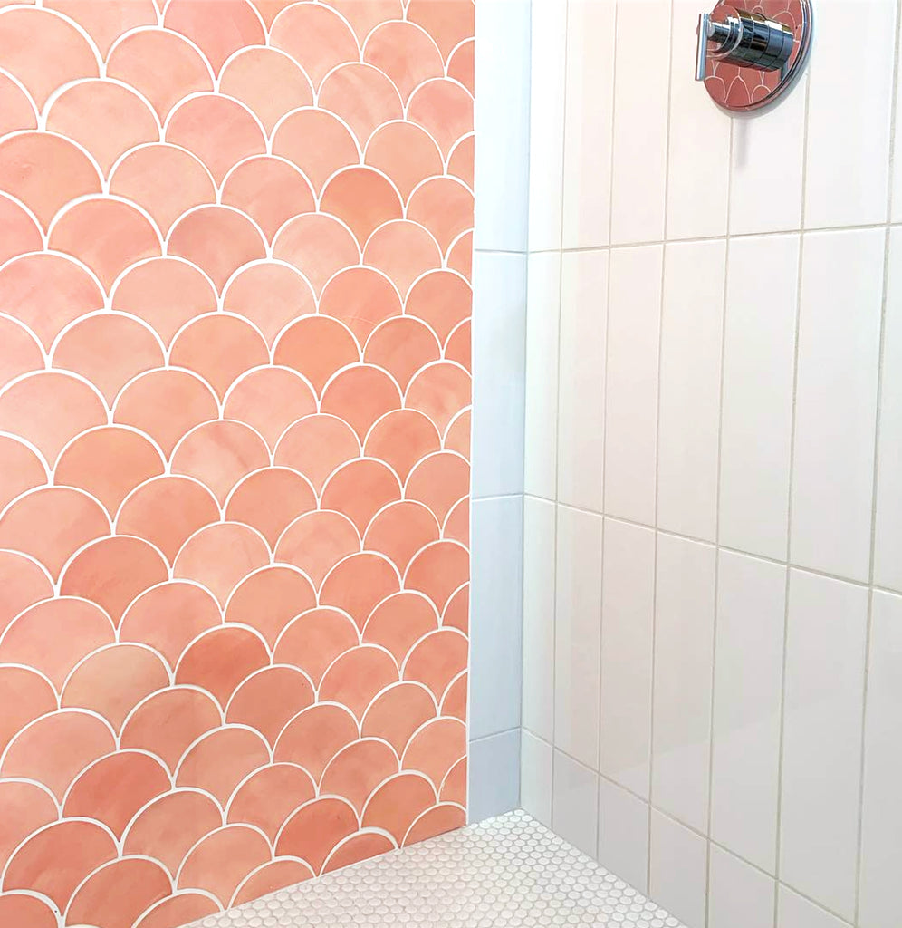 pink moroccan fish scales shower tile