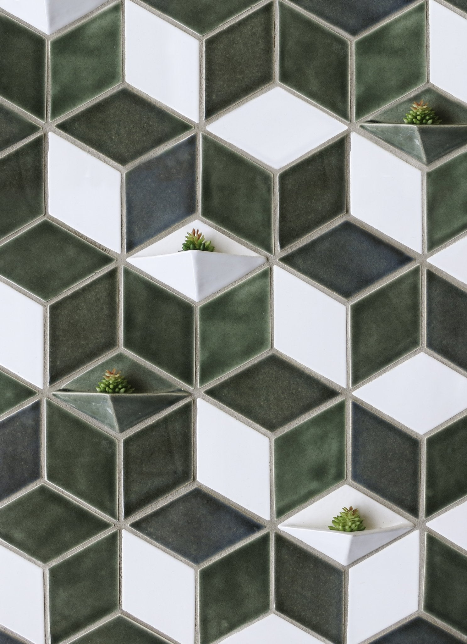 Geometric Diamond Ceramic Wall Planter
