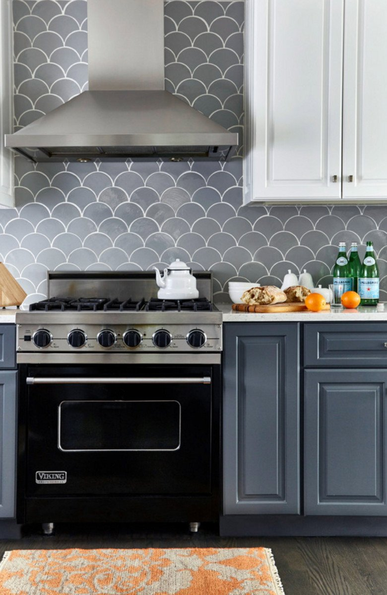 Grey Moroccan Fish Scale Kitchen Backsplash