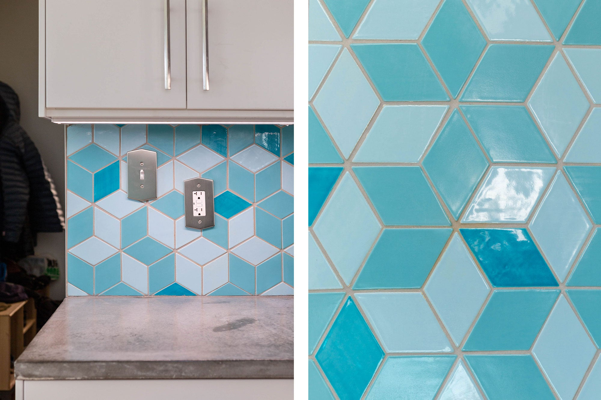 Glossy Blue Diamond Tile