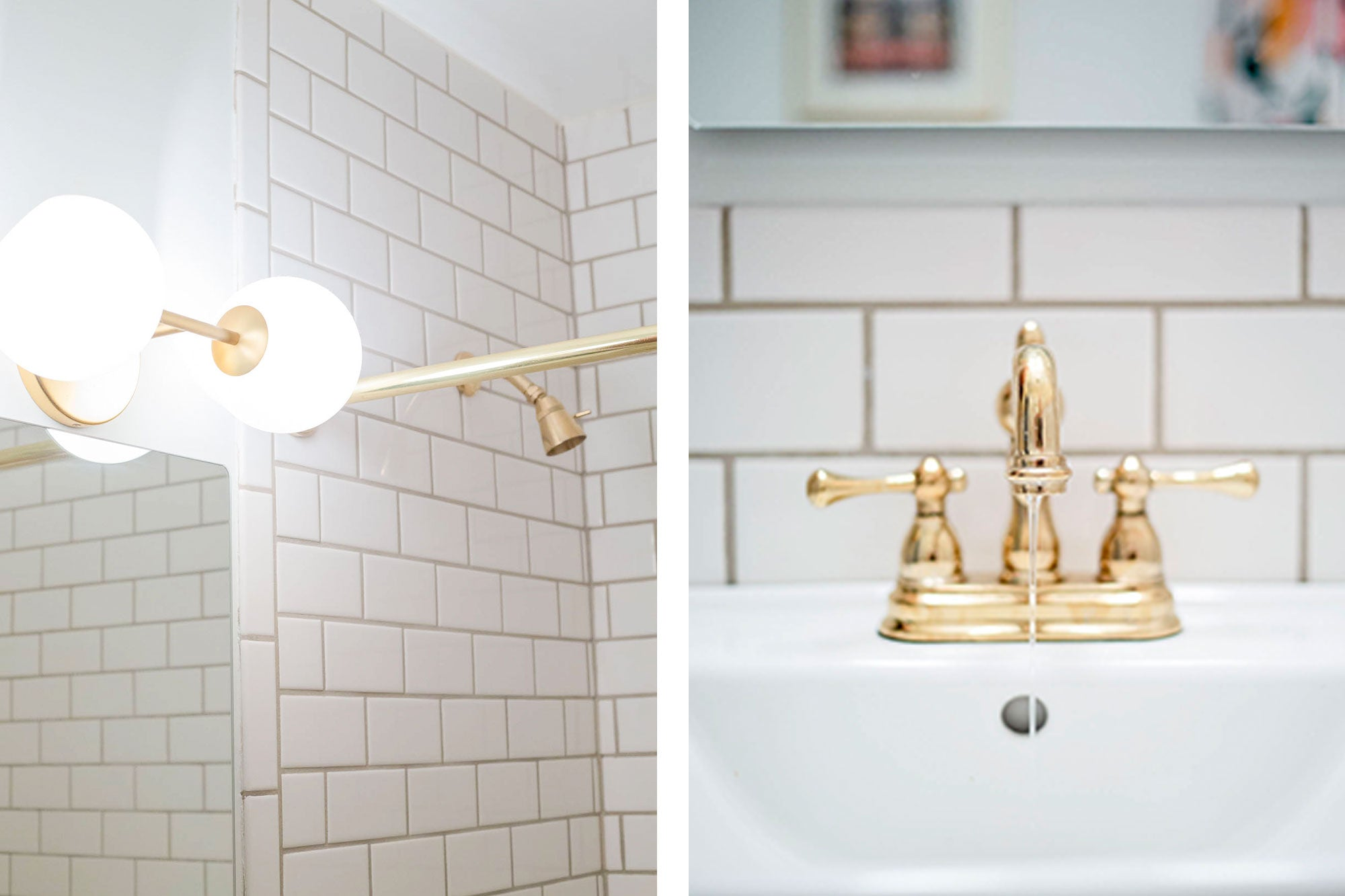 Gold Accents with Bold Tile Bathroom