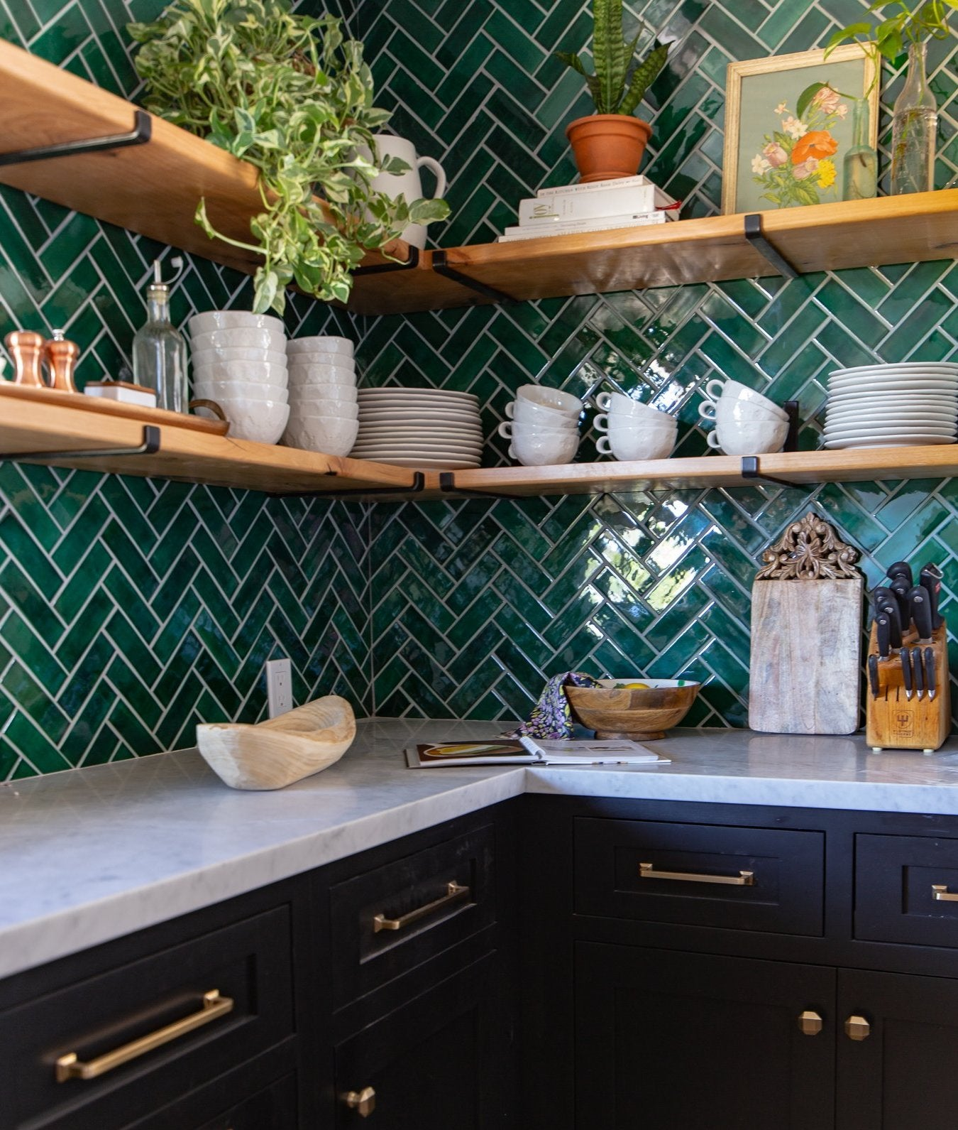 Green Ceramic Herringbone Kitchen Backsplash
