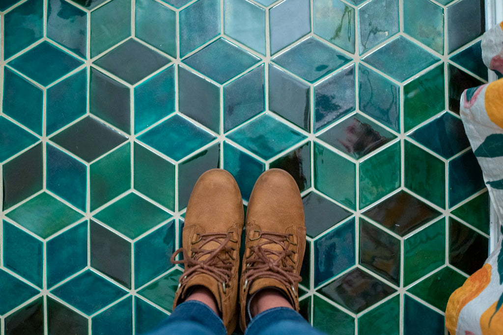 green diamond tile floor