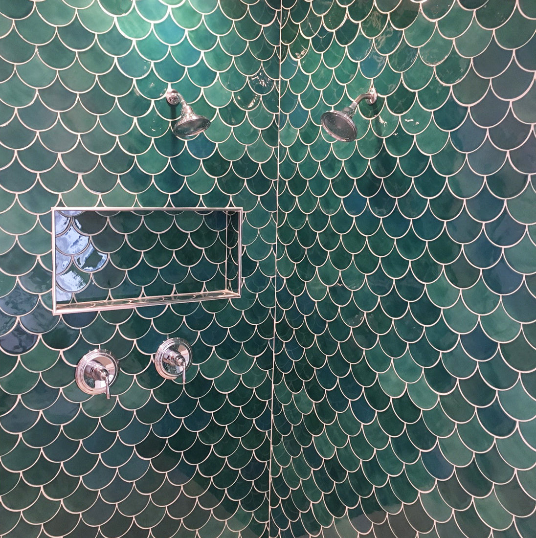 Green Mermaid Tile Shower Niche