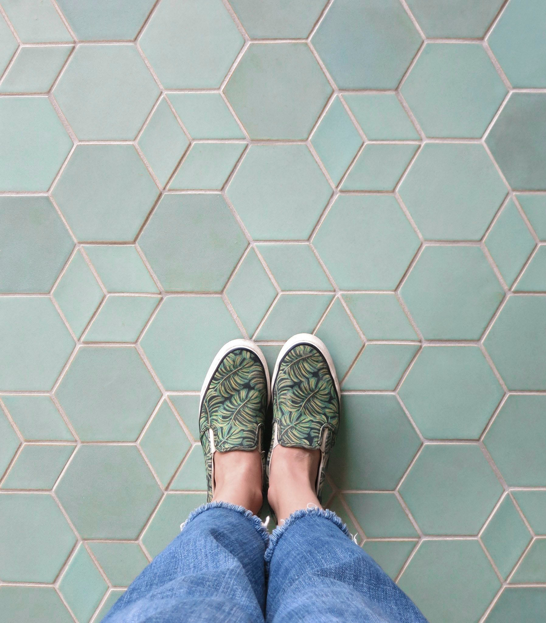 Mixed Shapes Unique Tile Floor Idea