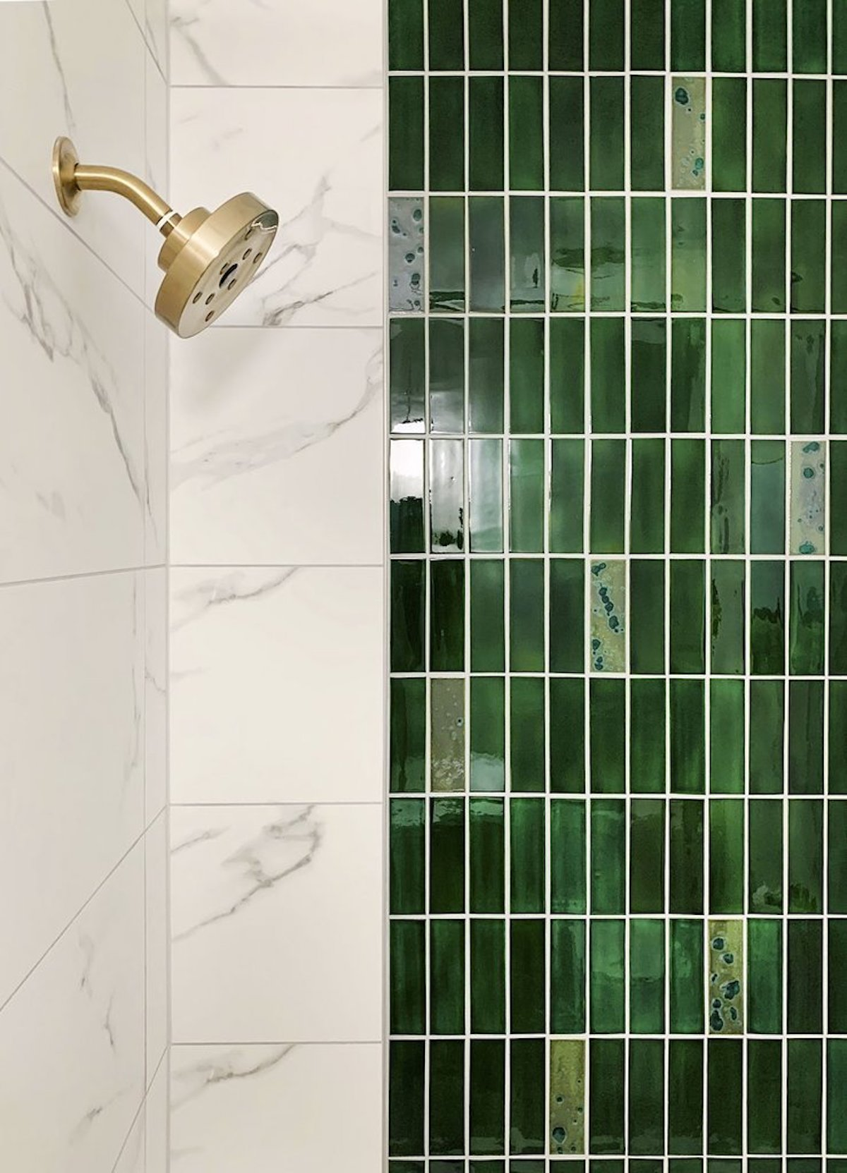 Green Stacked Subway Tile Shower Wall
