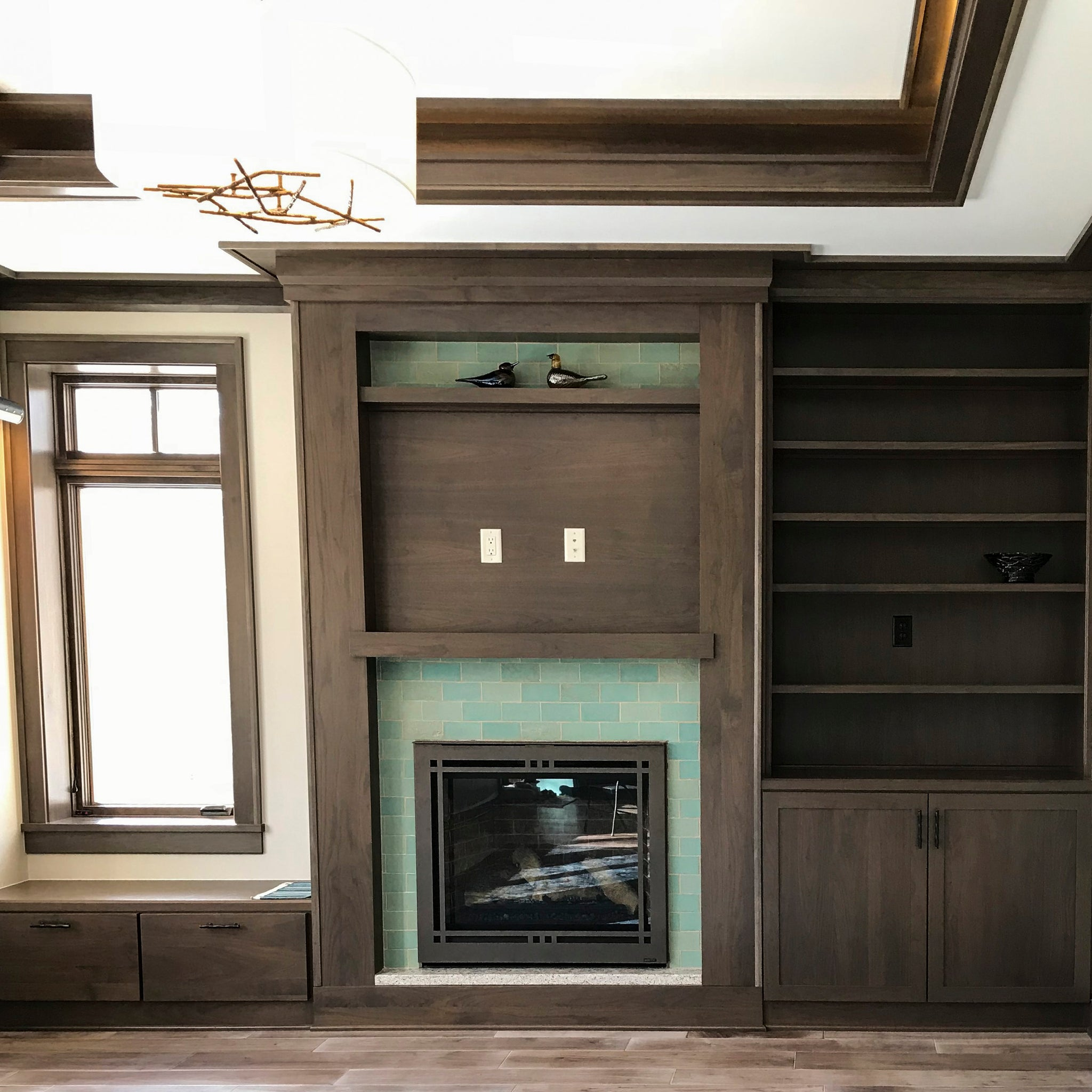 Green Subway Tile Fireplace Surround