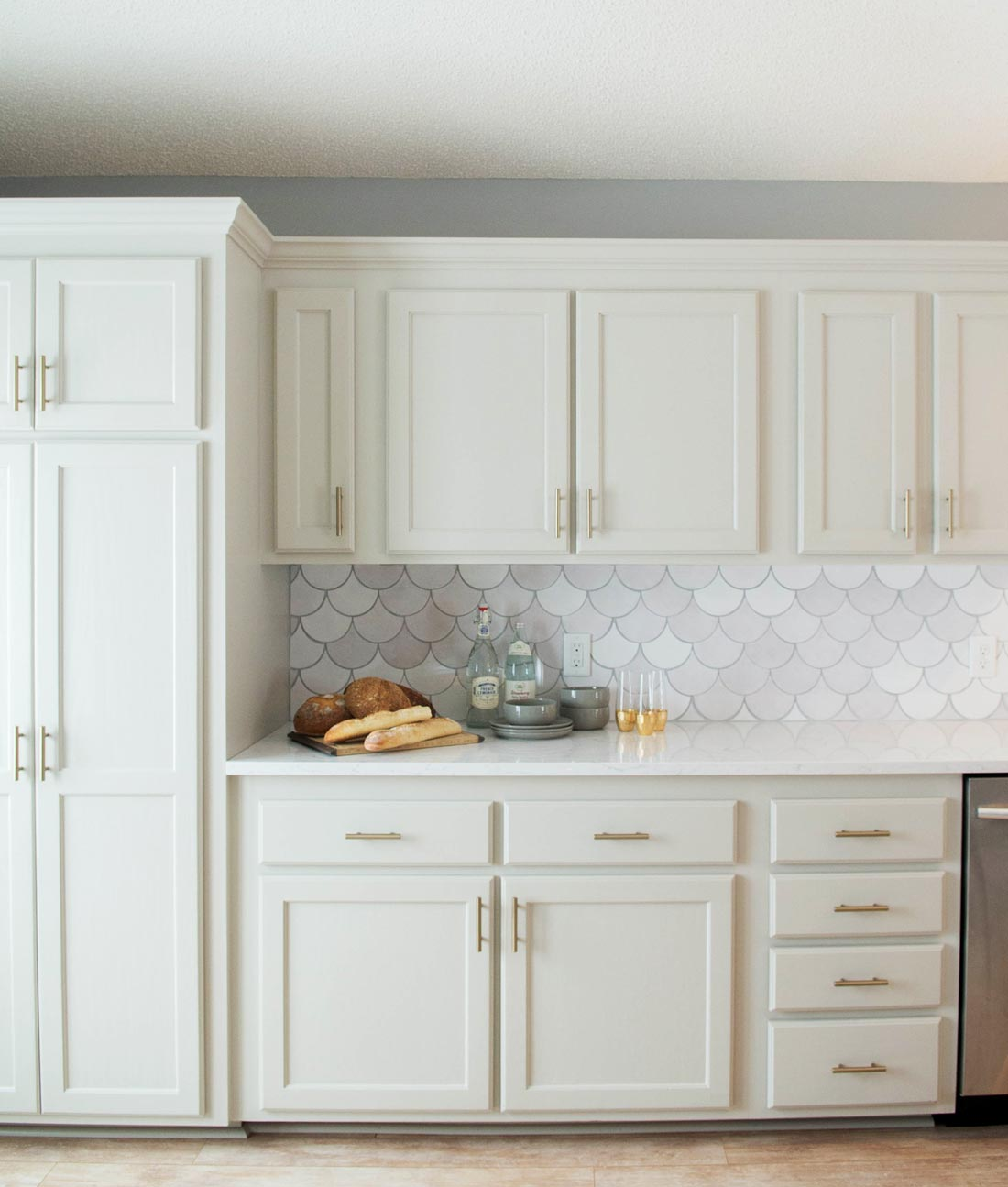 Before And After White Moroccan Fish Scales Kitchen