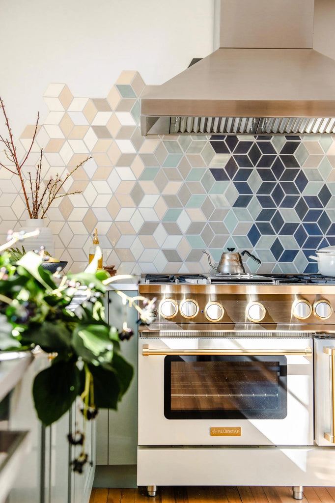 diamond tile ombre backsplash
