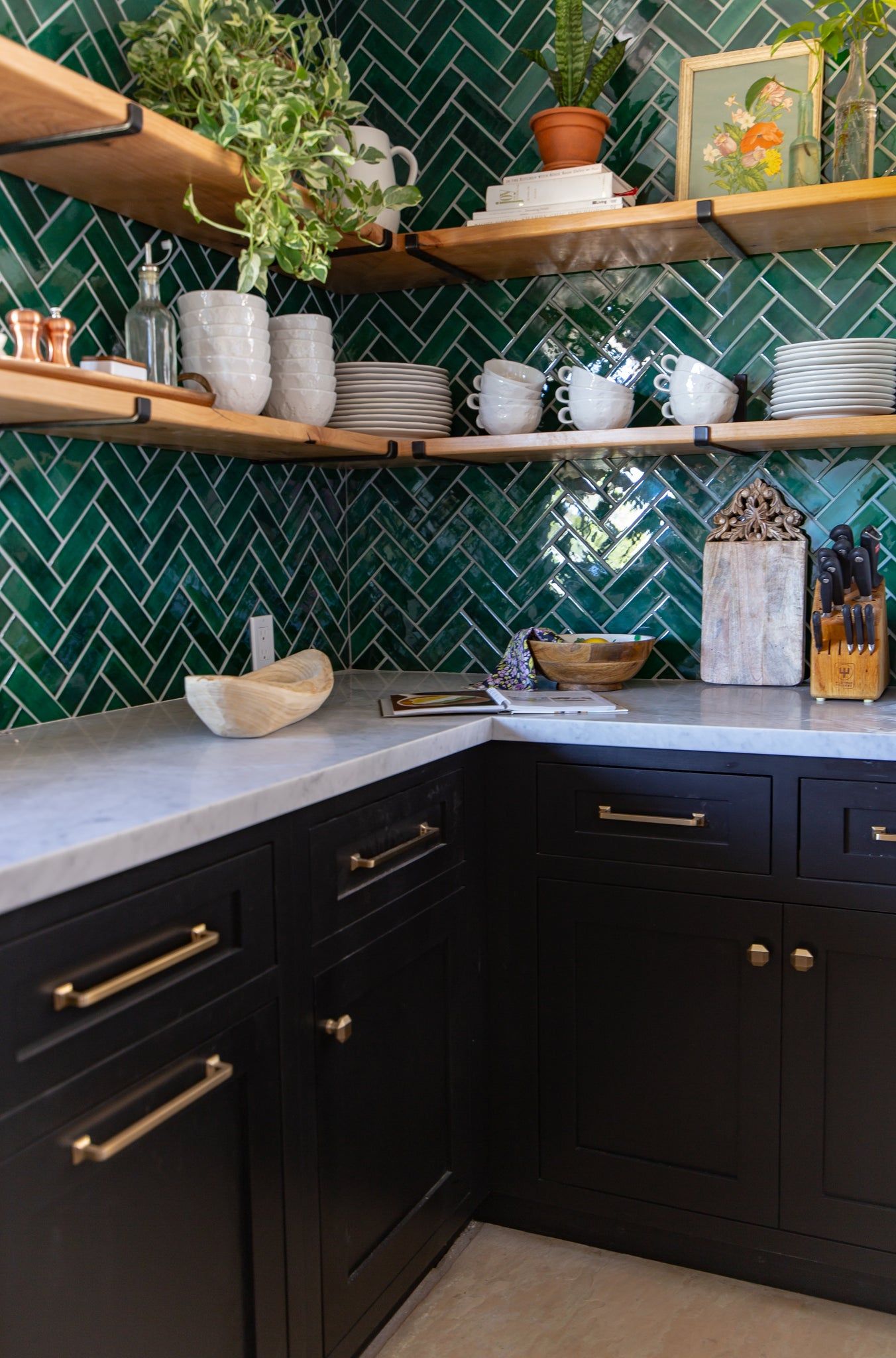 green herringbone tile kitchen