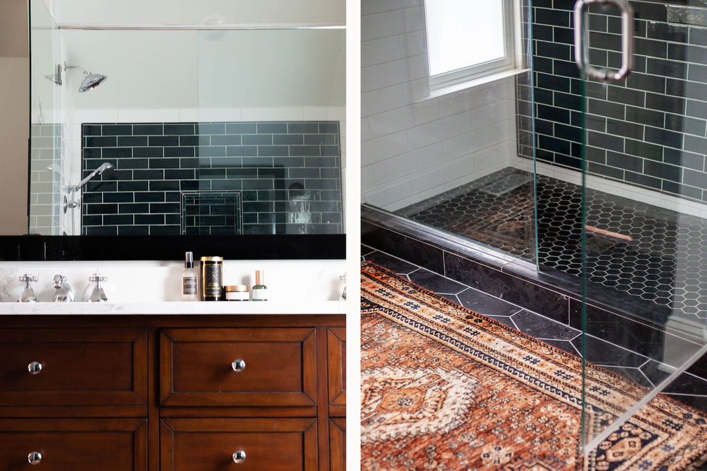Master Shower with Bluegrass Subway Tile and Black Hexagon Floor