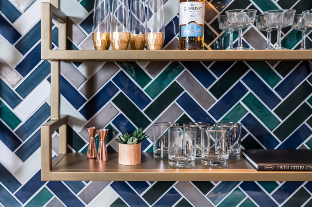 Herringbone Bar Backsplash