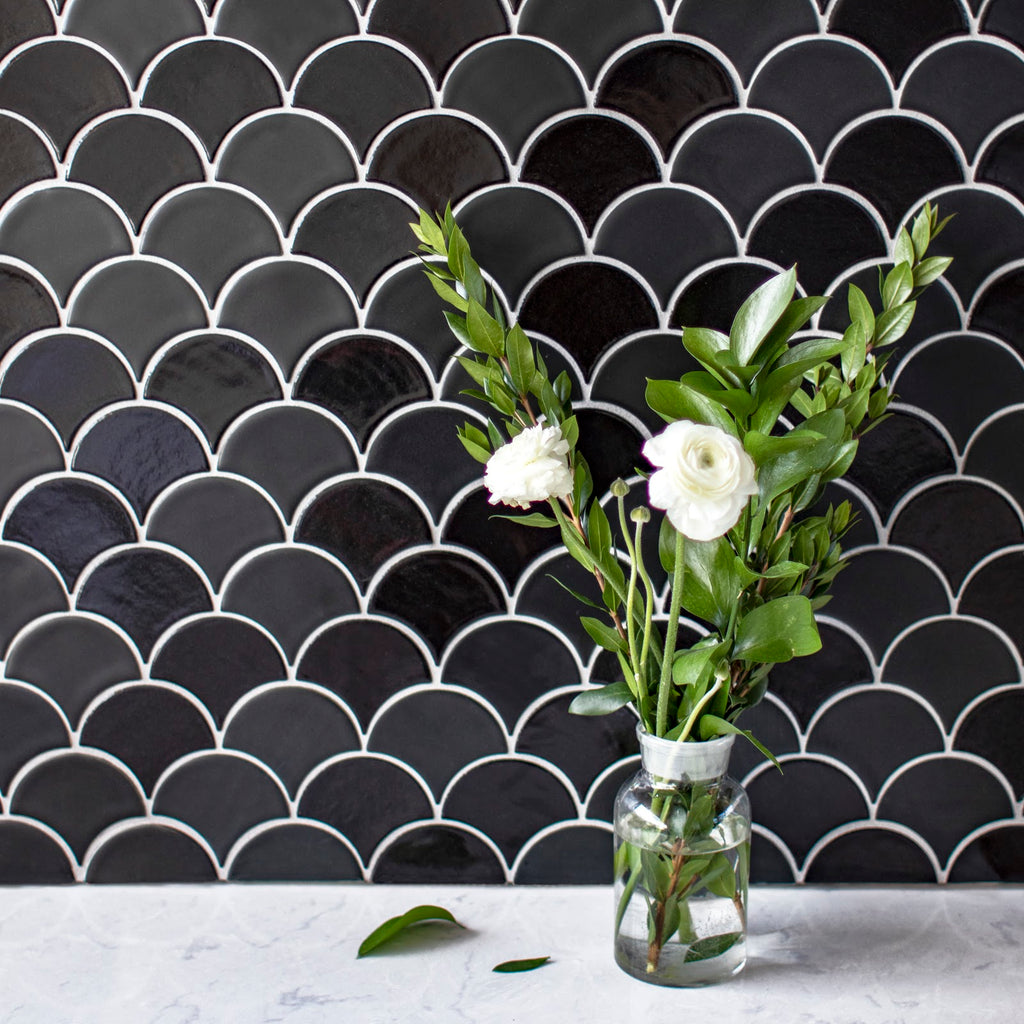 Black Moroccan Fish Scales with White grout