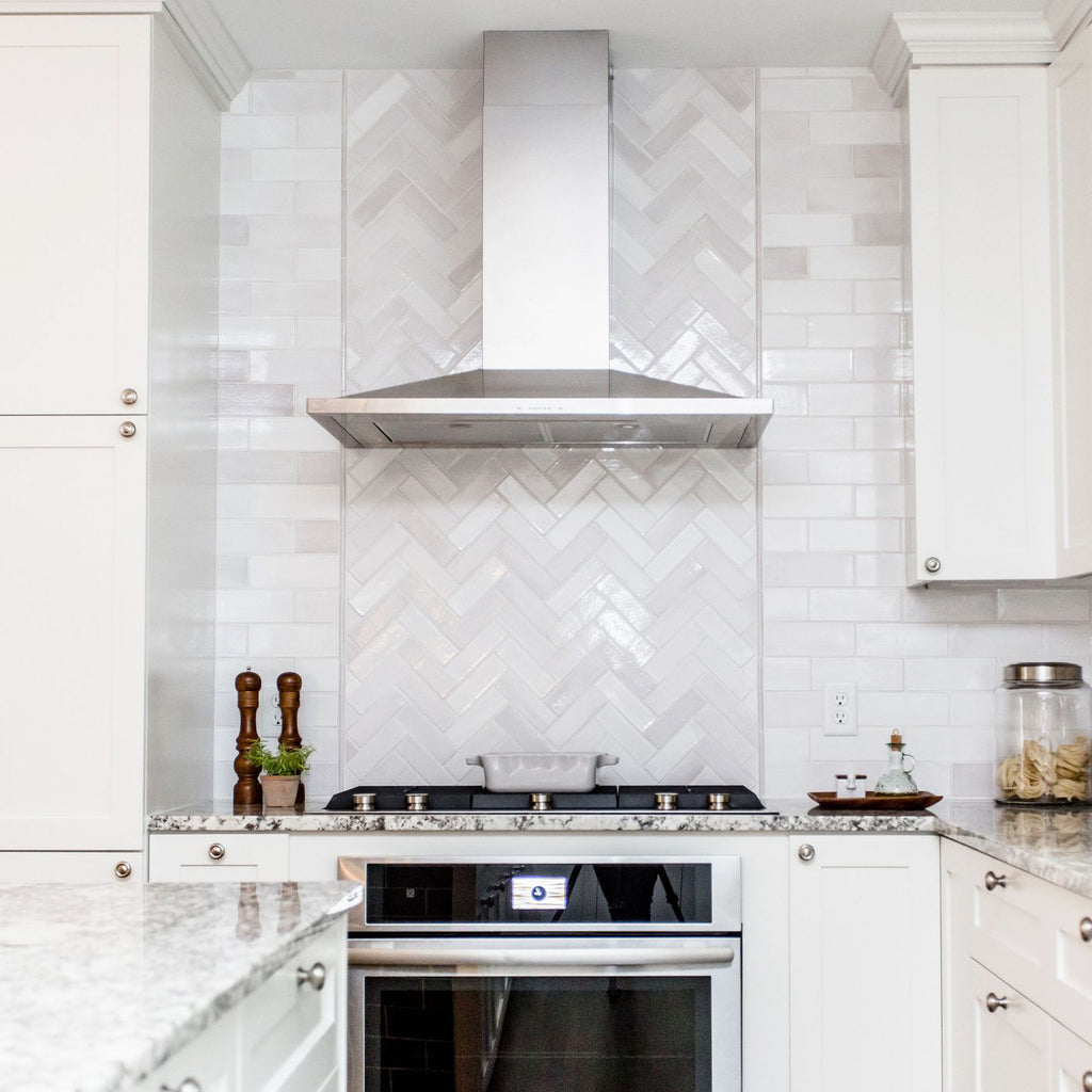herringbone tile stove splash