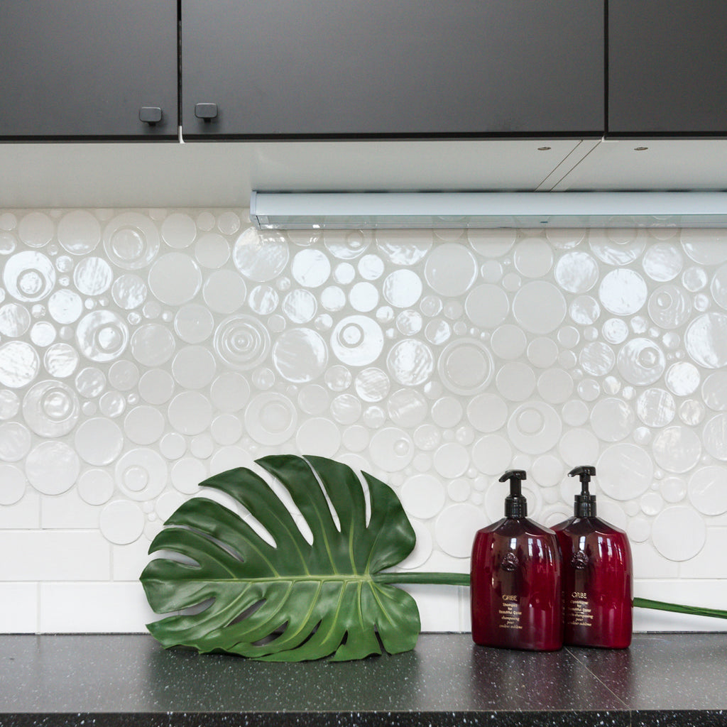 White Bubble Tile Backsplash