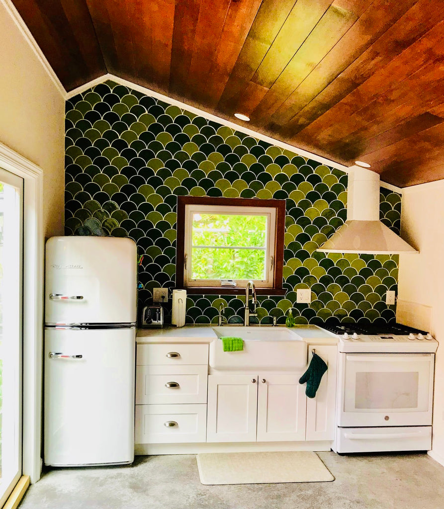 Green Moroccan Fish Scale Backsplash