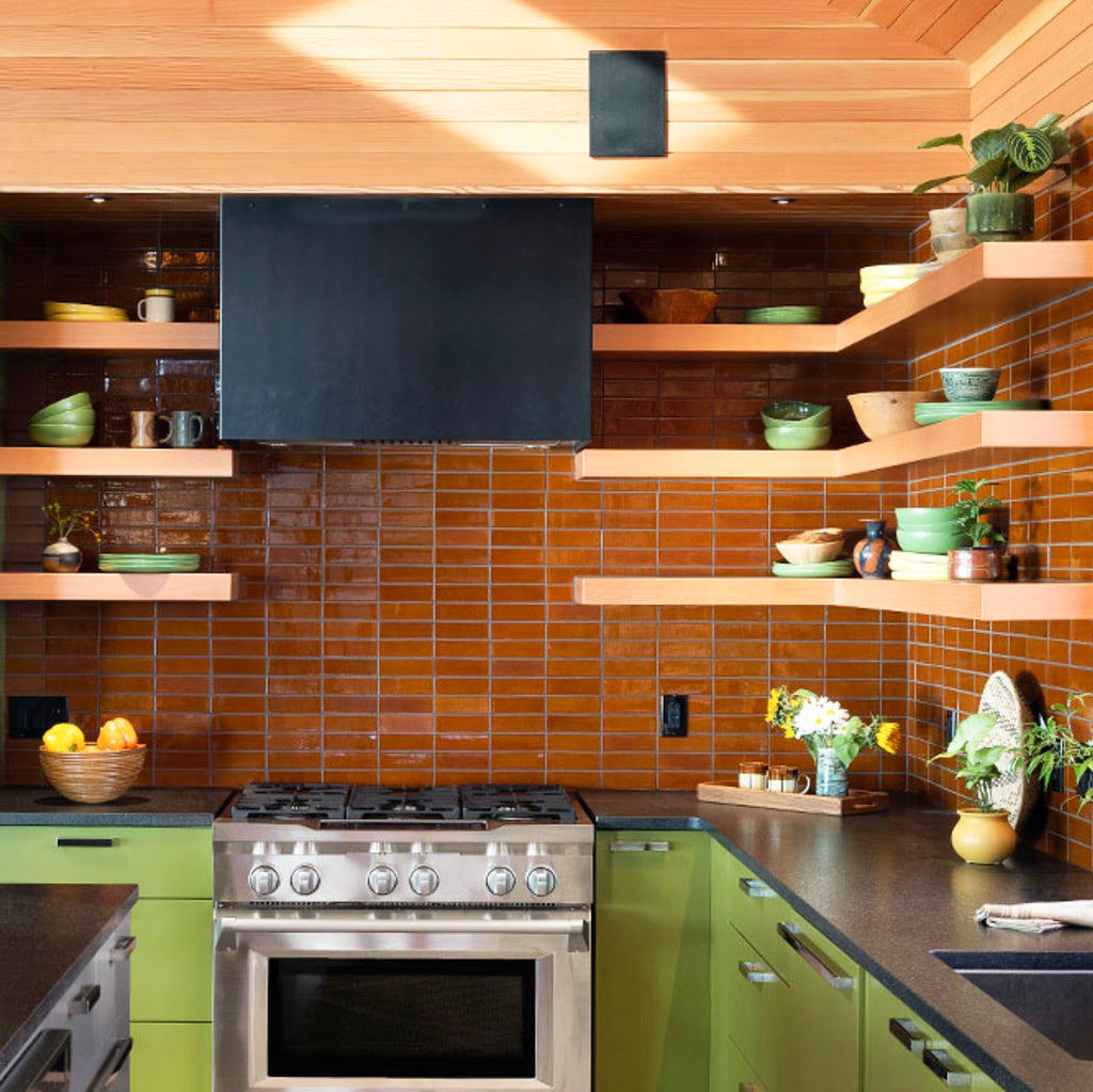 Floating Shelving and Subway Tile