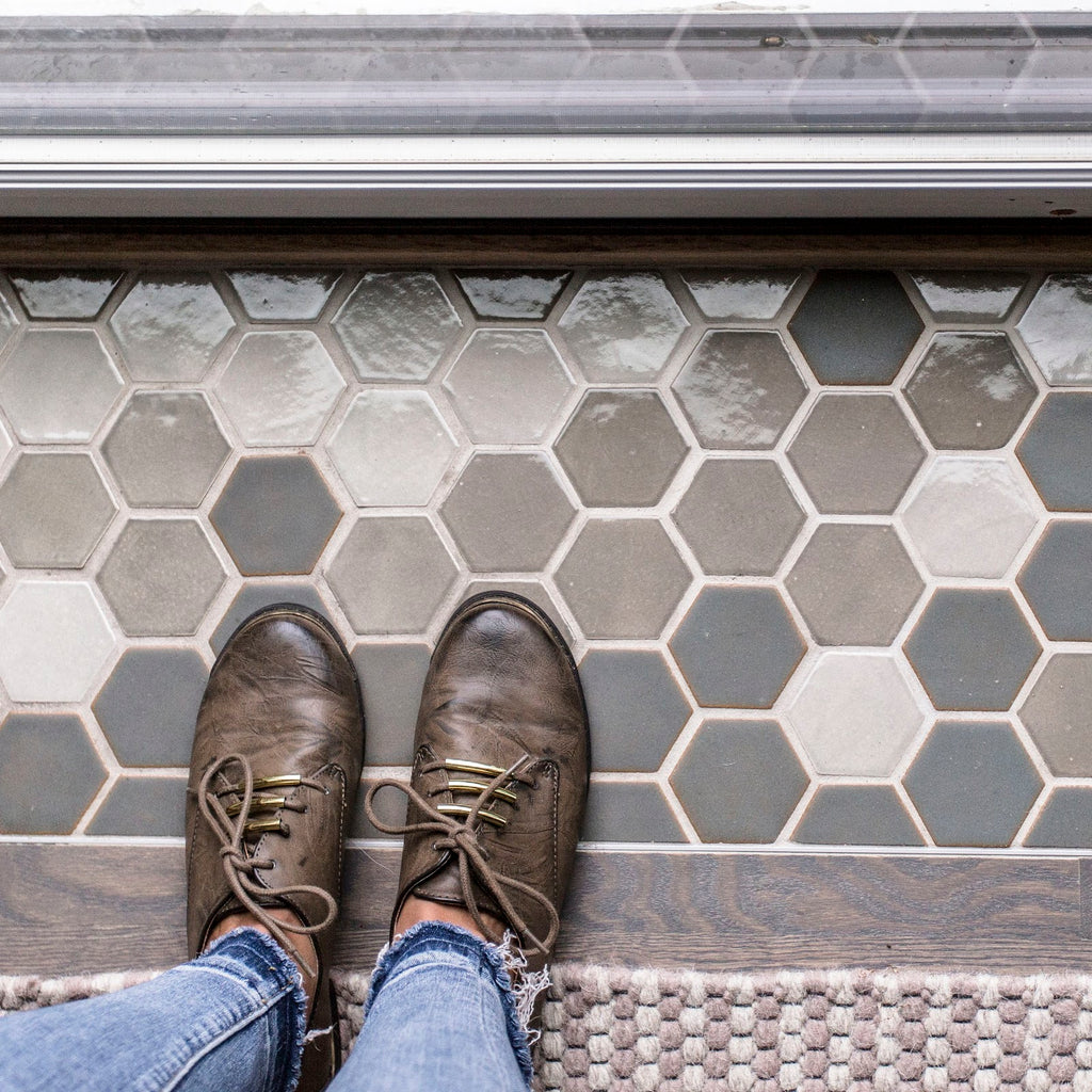 Hexagon Floor Tile with Neutral Grout