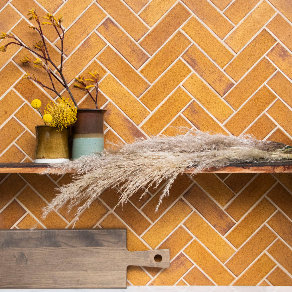 Herringbone Tile in 112 Saddle Clove