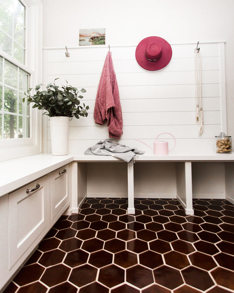 Brown Hexagon Floor