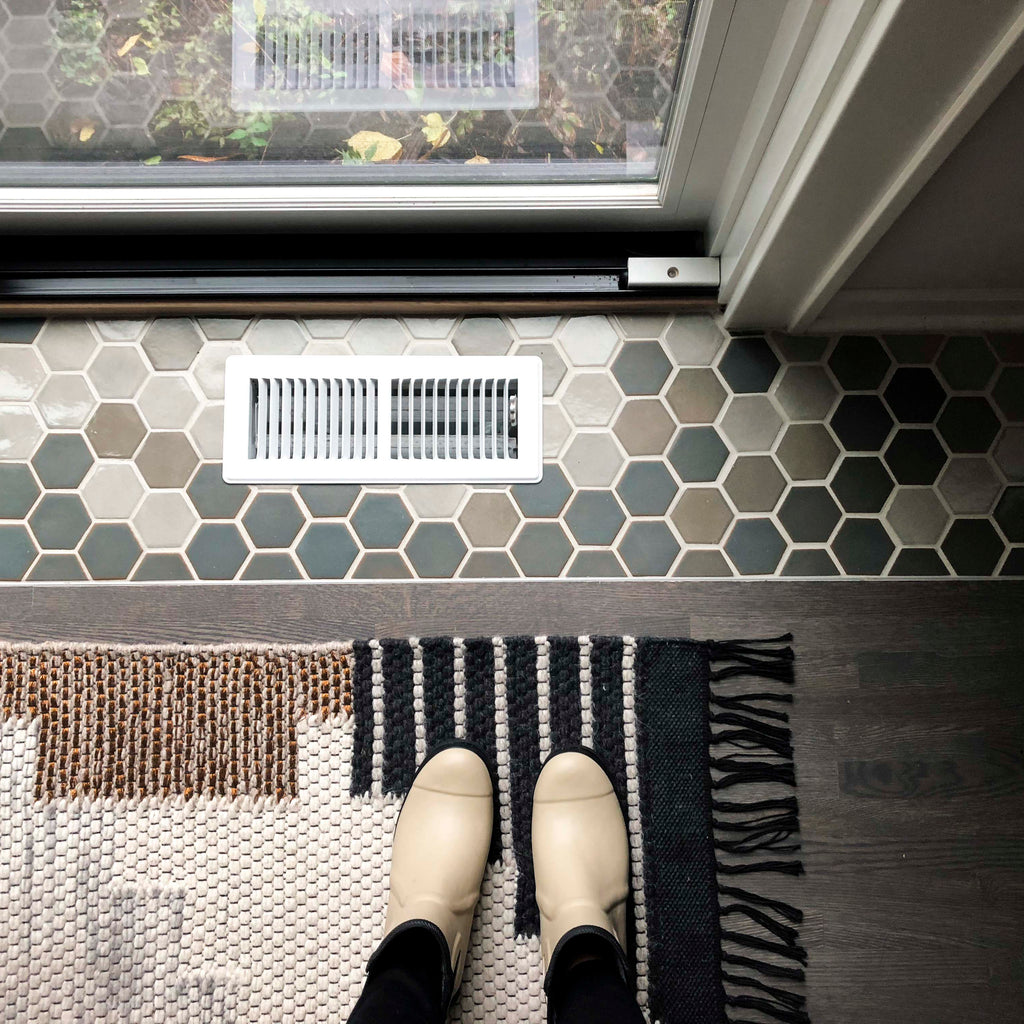Grey Neutral Hexagon Tile Floor