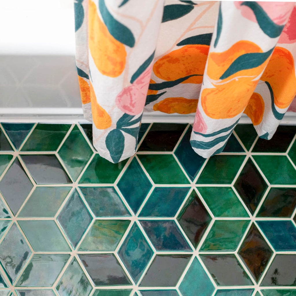 Green Diamond Tiled Floor