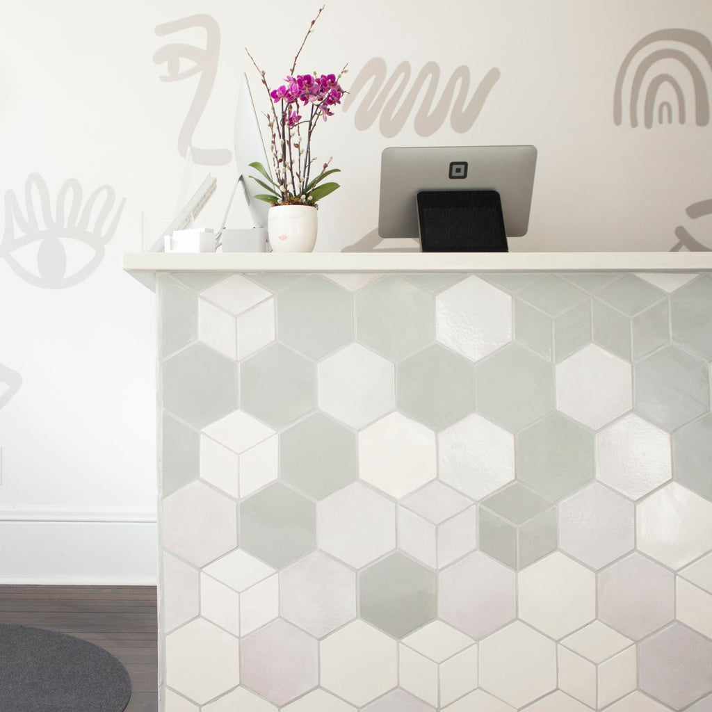 Ombre Hexagon Tiled Reception Desk