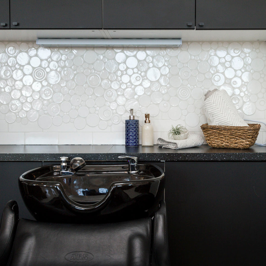 White Bubble Tile with White grout