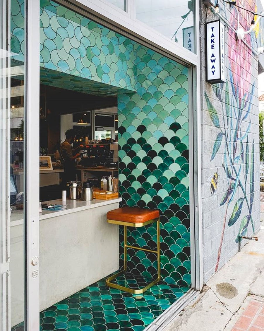 Indoor Outdoor Tiled Bar Idea