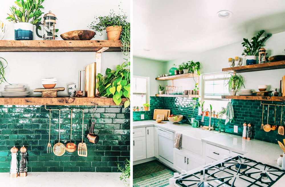 green kitchen tile green with envy 3 kitchens that pair green tile amp copper 1444