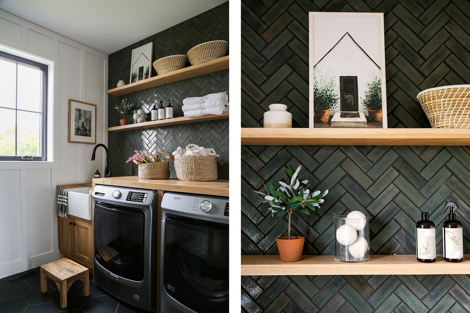 Laundry Room Herringbone Ceramic Tile Green