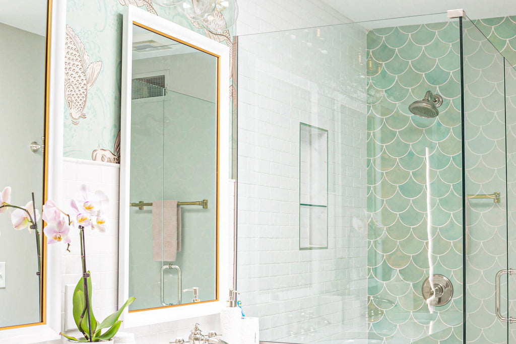 Light teal fish scale tile shower