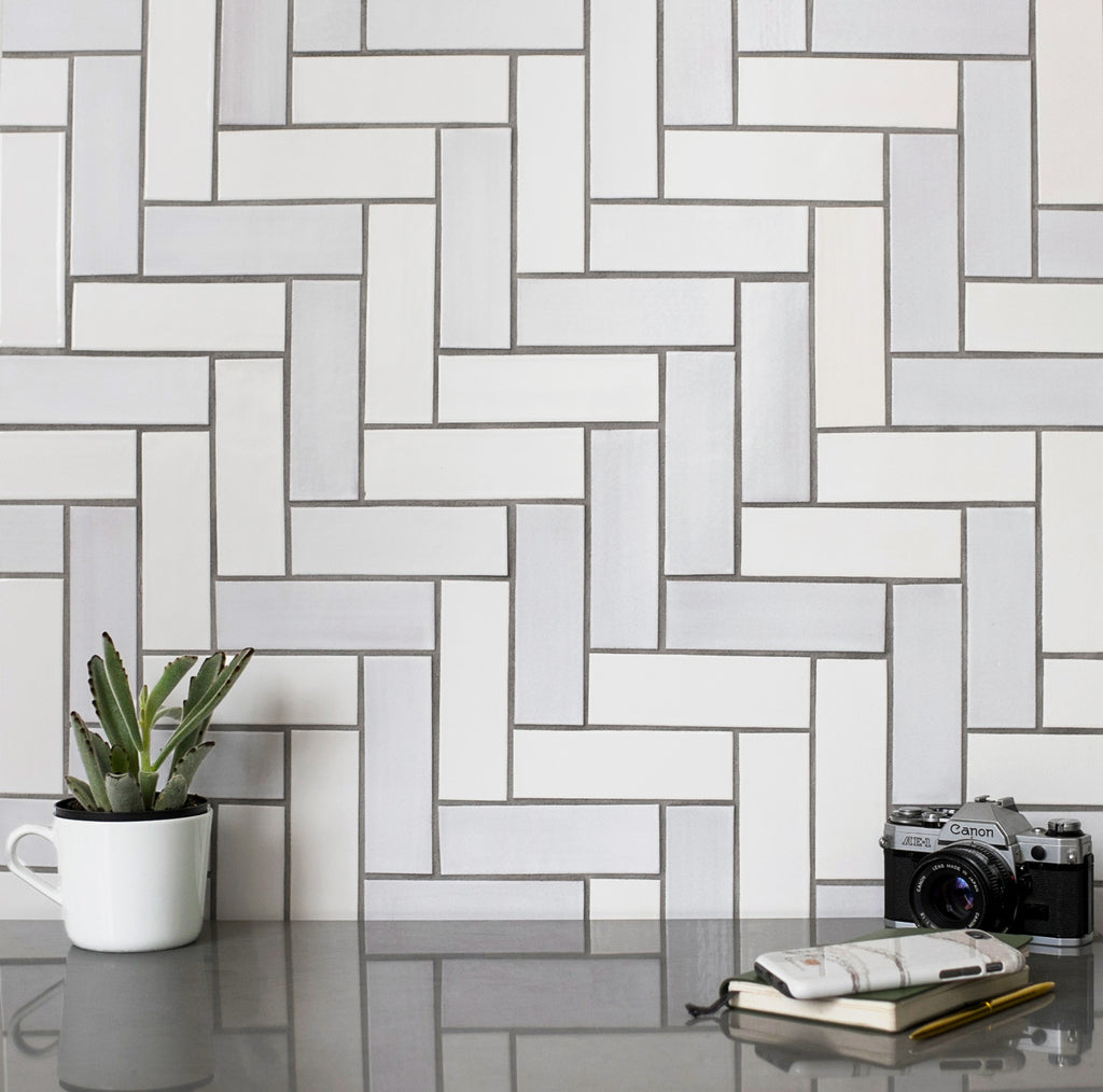 2x6 Herringbone Tile - 11 Deco White, 130 White