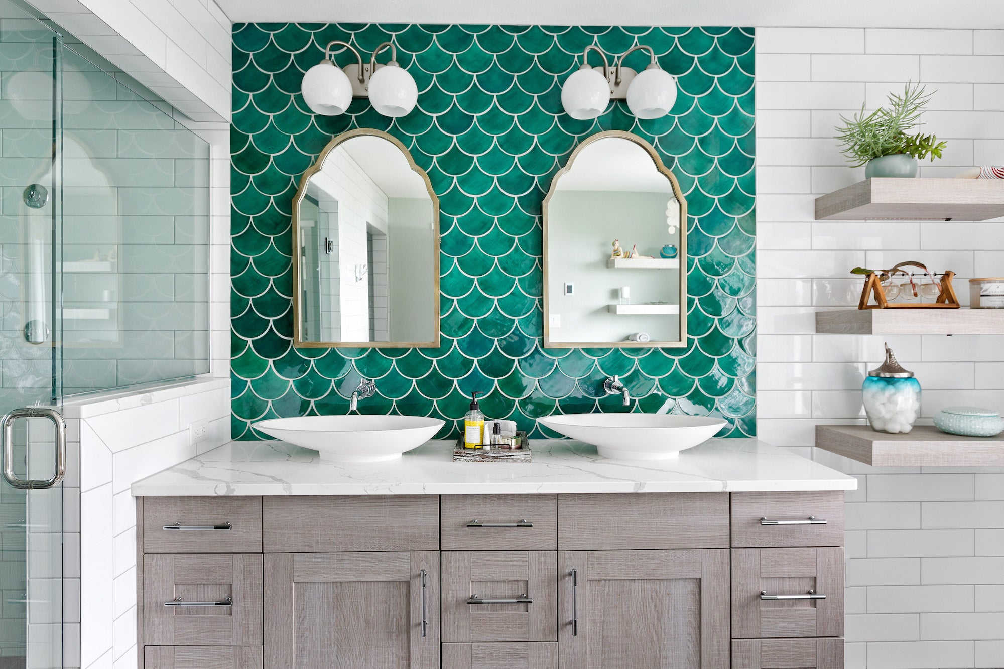Moroccan Fish Scale Teal Bathroom Backsplash