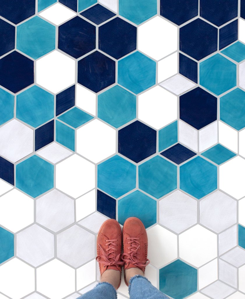 Ombre Bright Blue Floor Tile