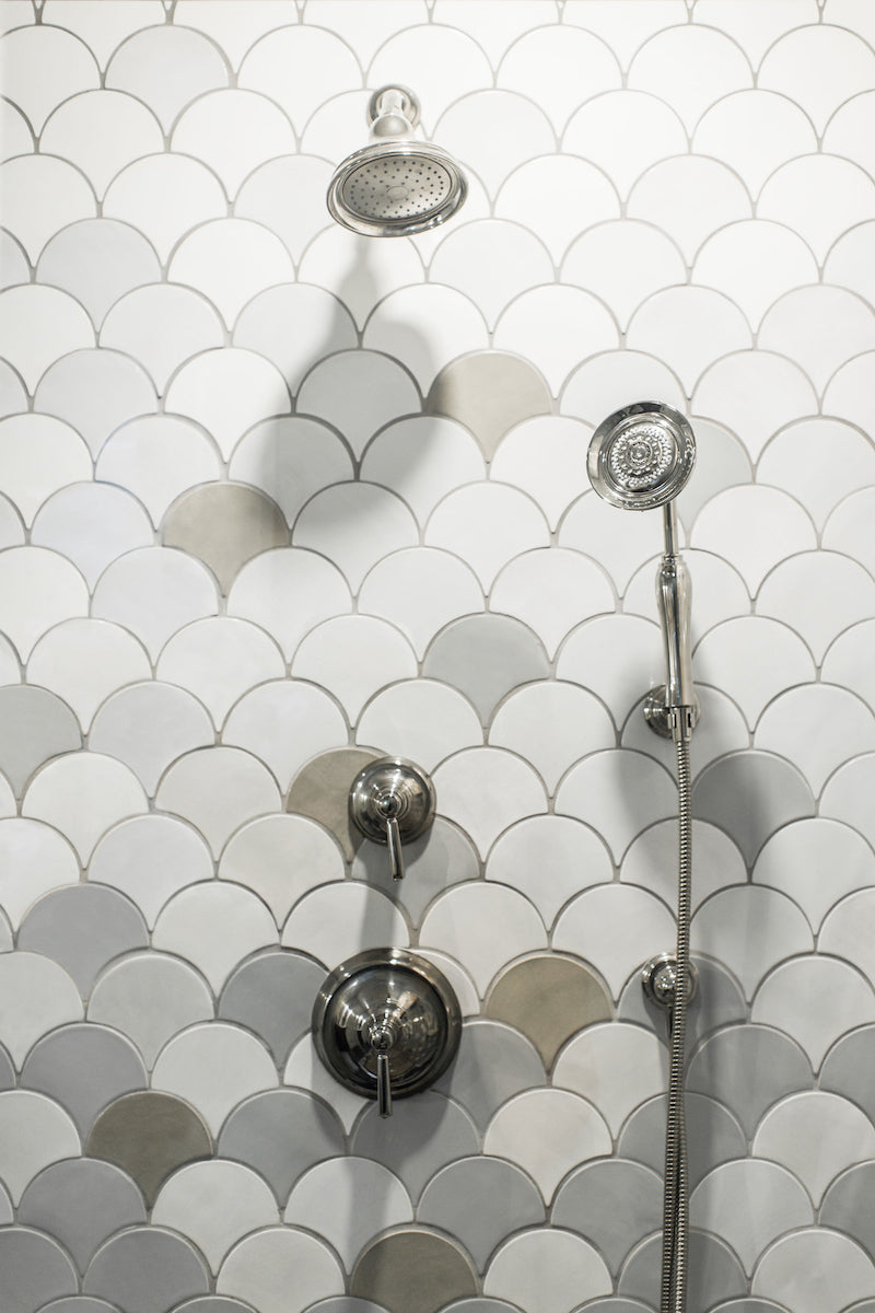 Ombre Gray Moroccan Fish Scale Shower