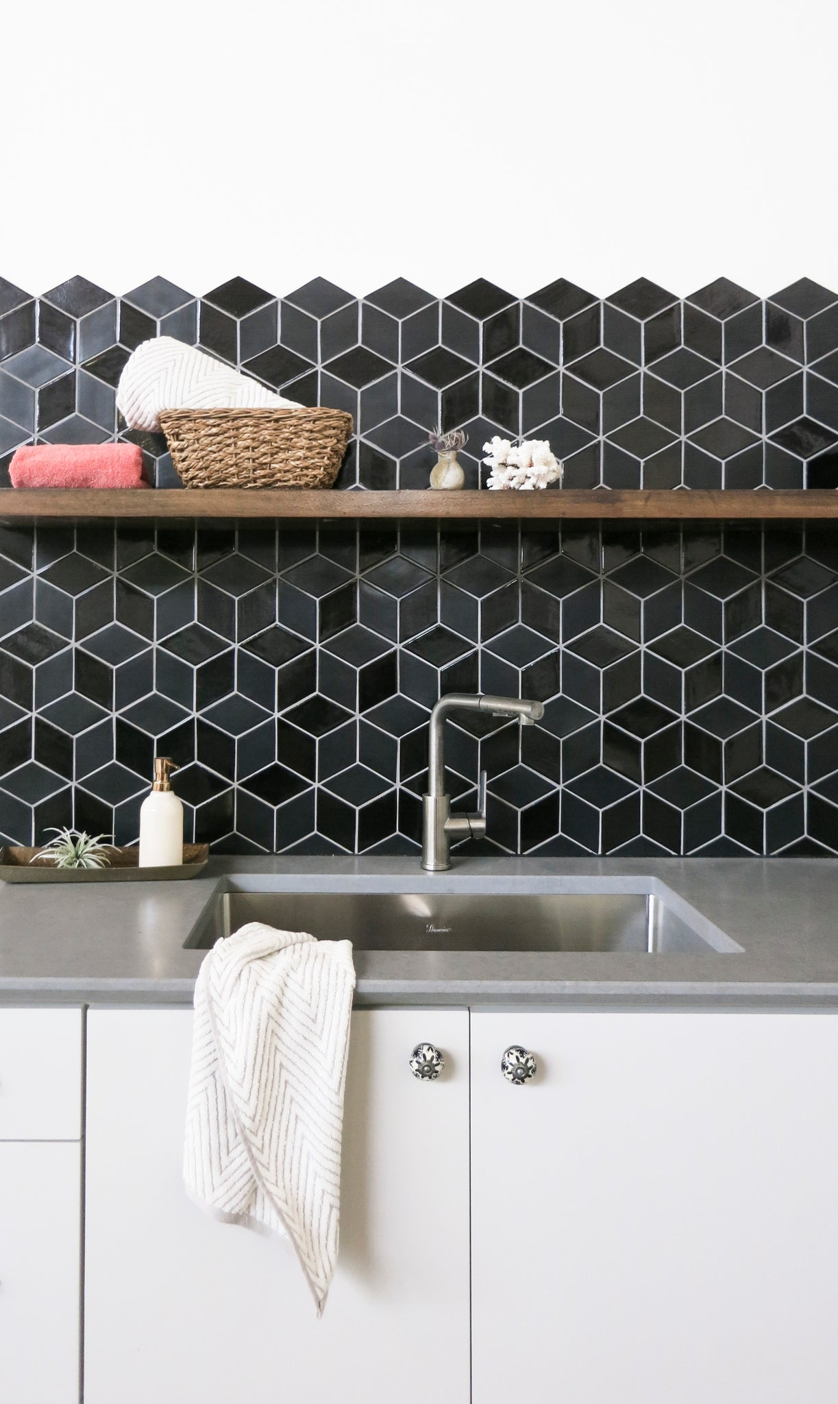 Open Shelving with Black Tile