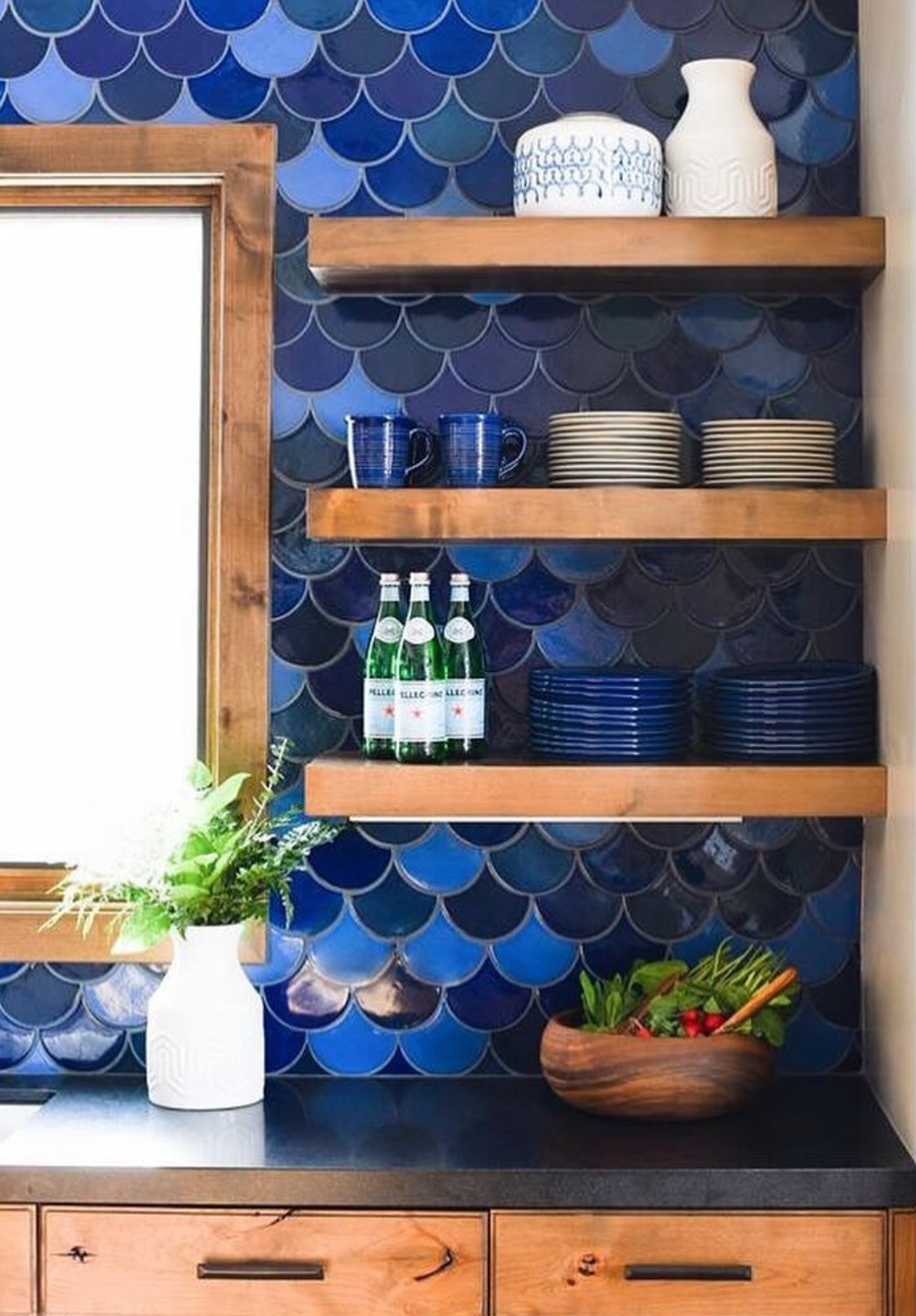 Open Shelving with Moroccan Fish Scale Tile