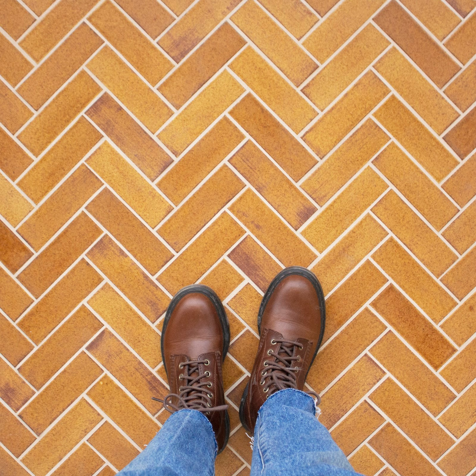 Orange Herringbone Tile Floor