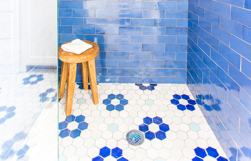 blue and white flower hexagon floor tile
