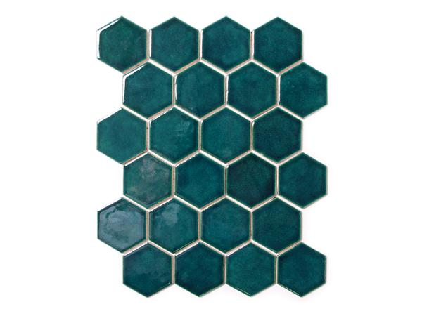 Buy Teal Hexagon Ceramic Tile