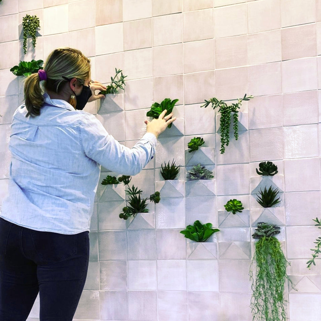 Square Subway Tile with Custom Planters