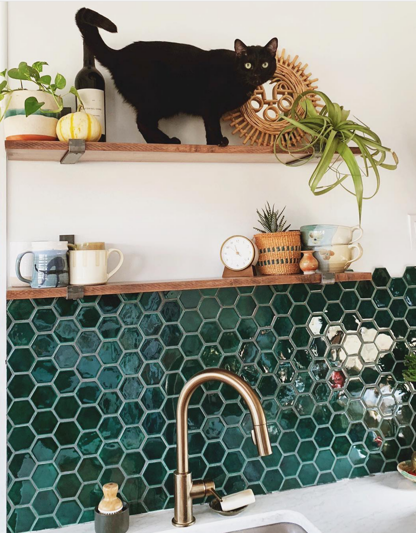Small Green Hexagon Tile Backsplash
