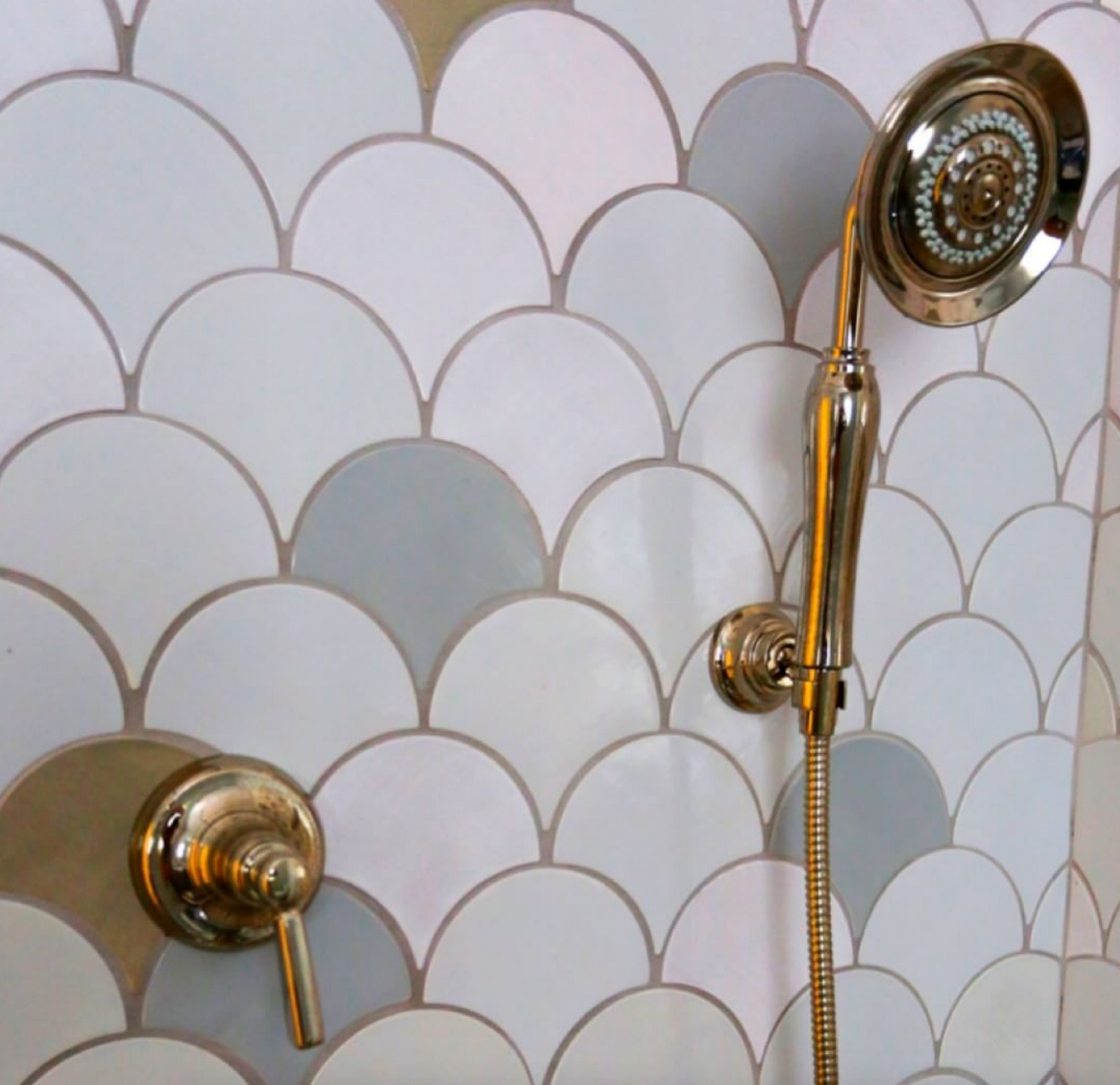 Speckled Gray Moroccan Fish Scale Shower