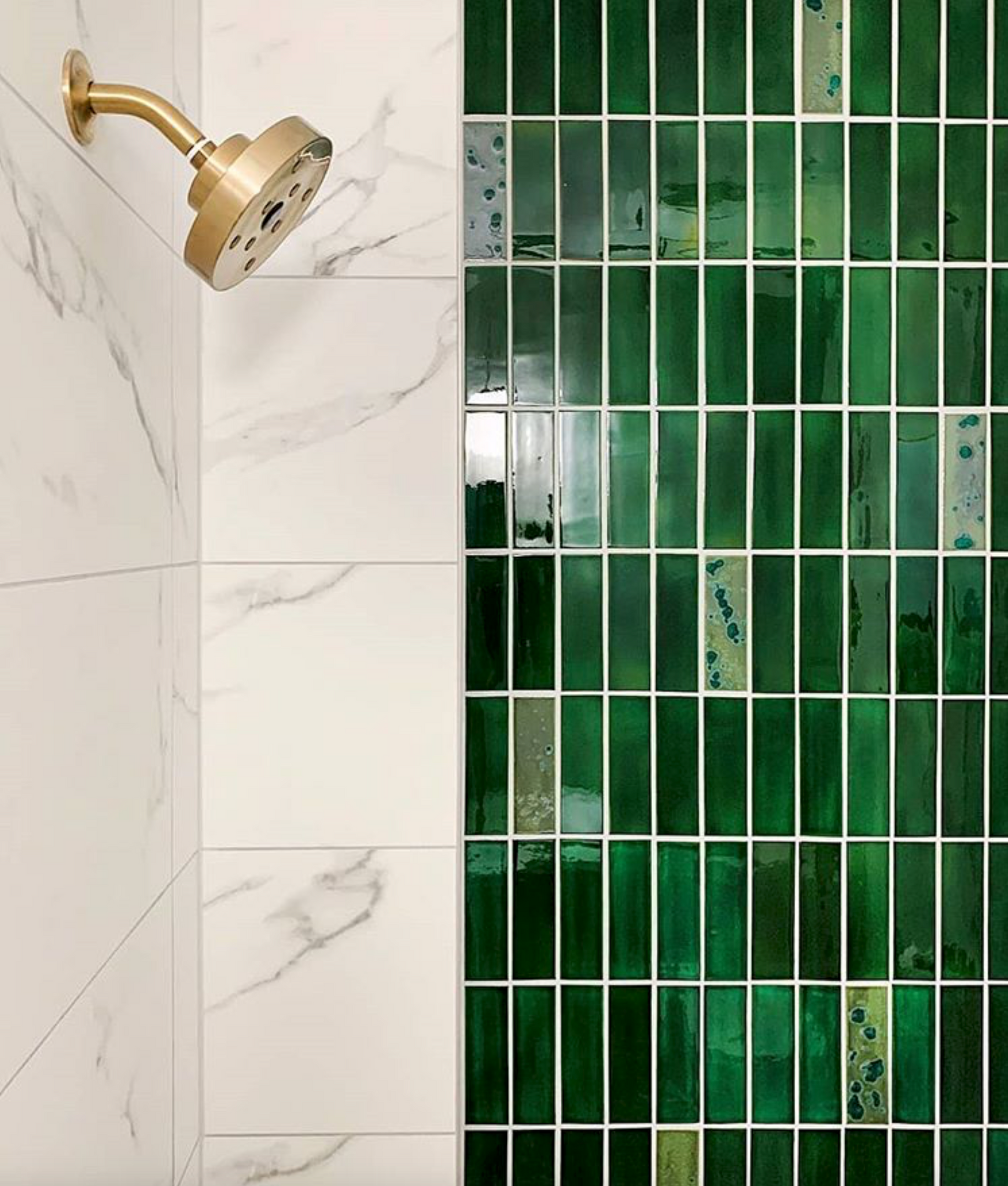 Stacked Emerald Green Shower Tile
