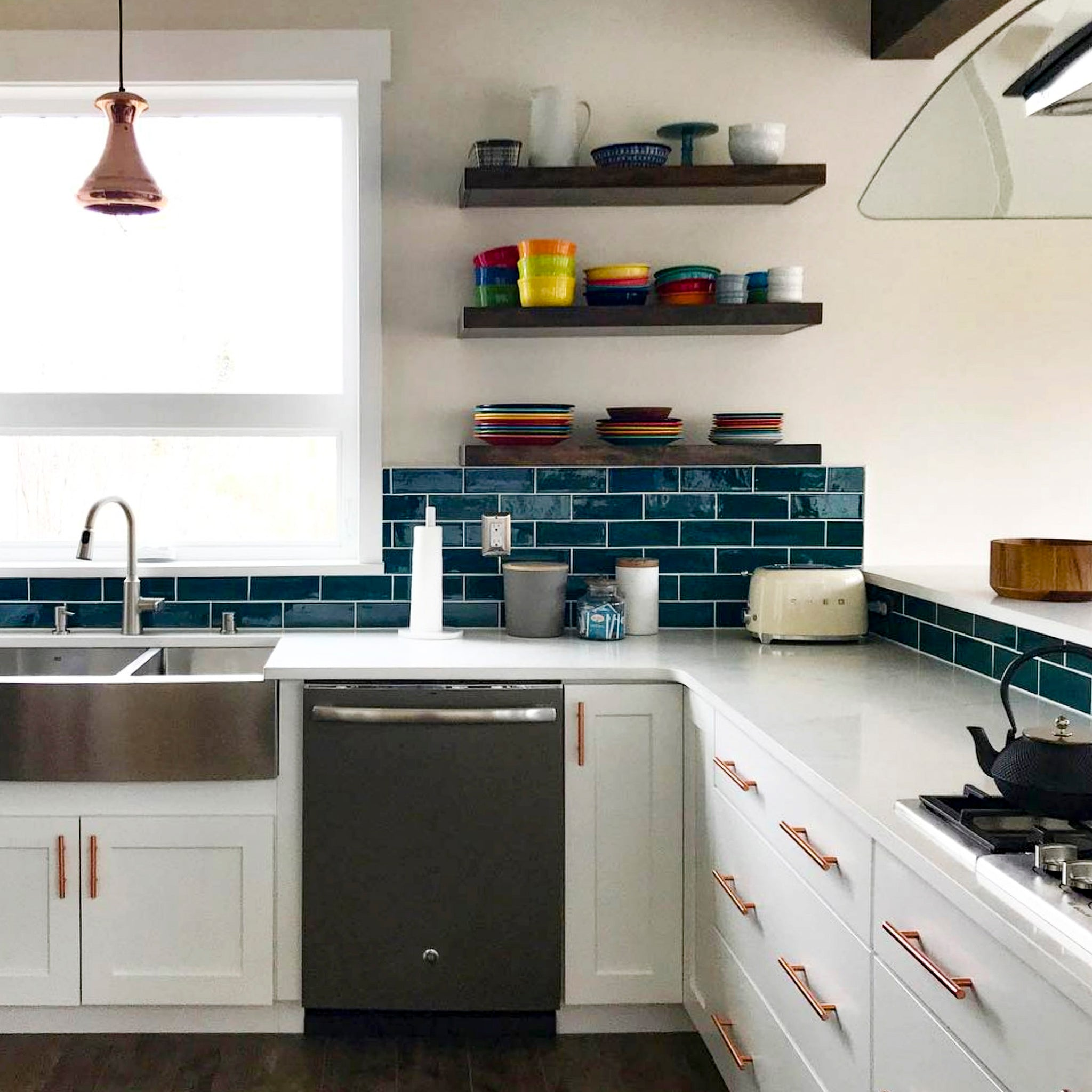 14 Tile + Open Shelving Designs: A Match Made In Heaven