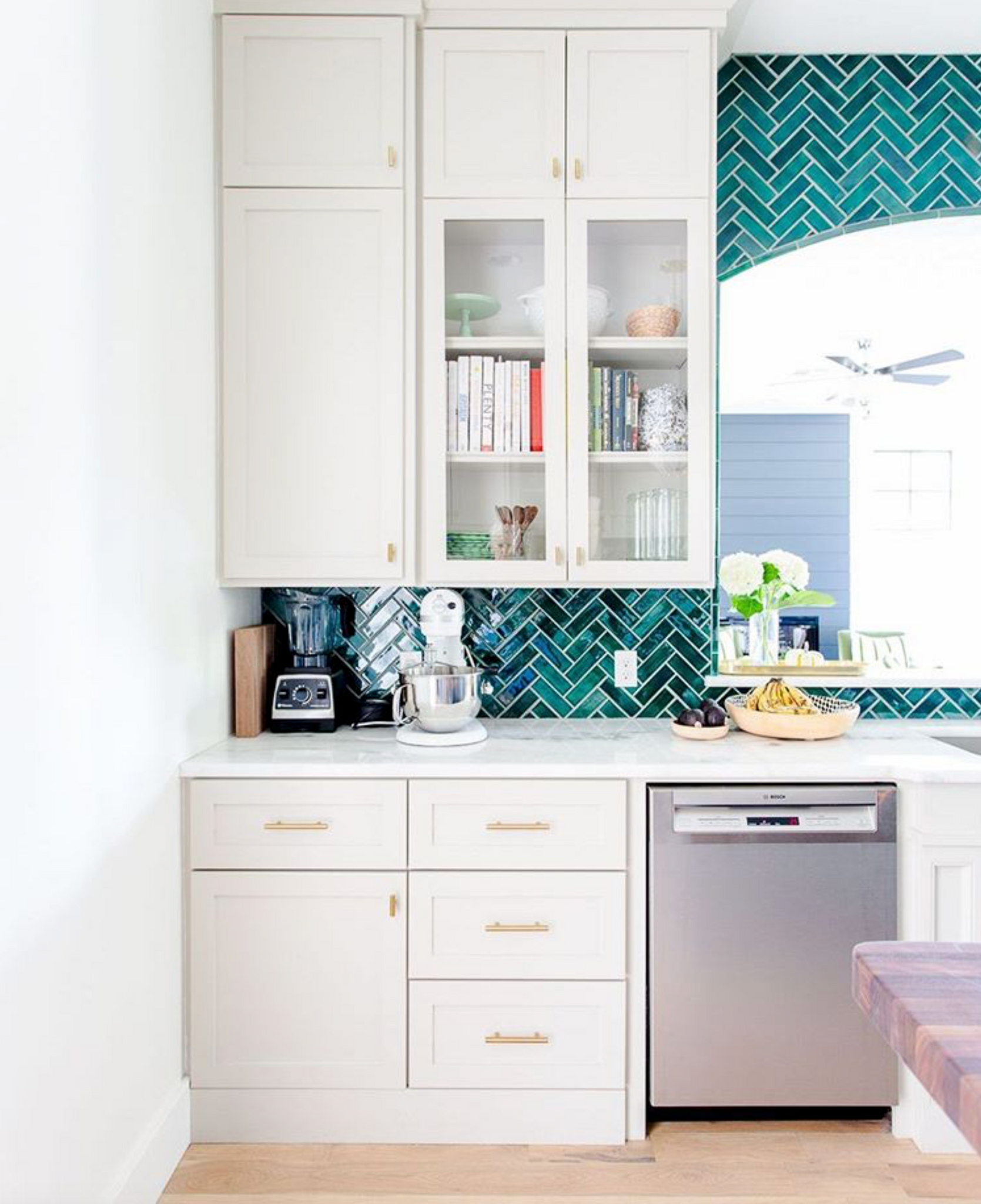 Teal Herringbone Tile Kitchen Backsplash