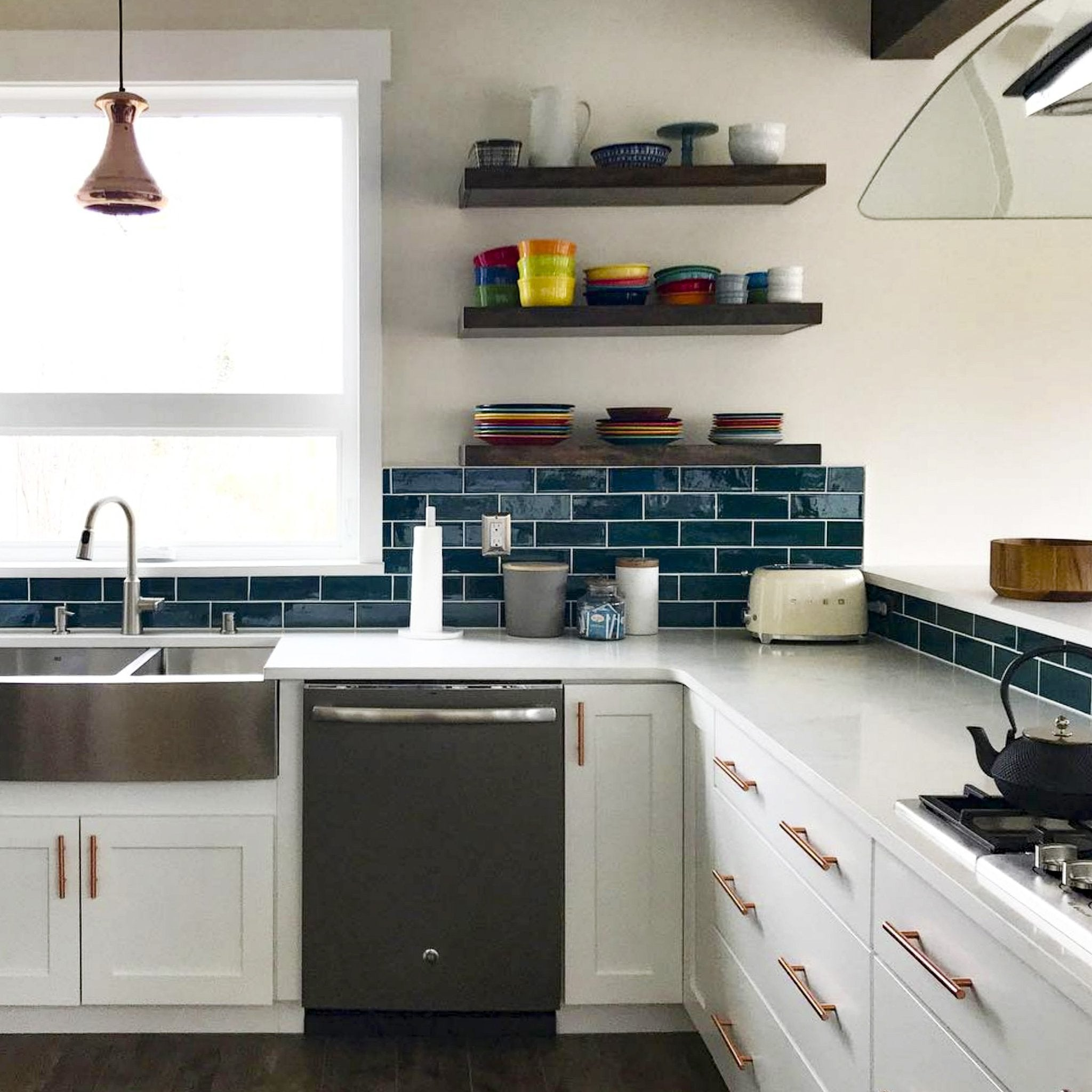 Teal Subway Tile Kitchen Backsplash