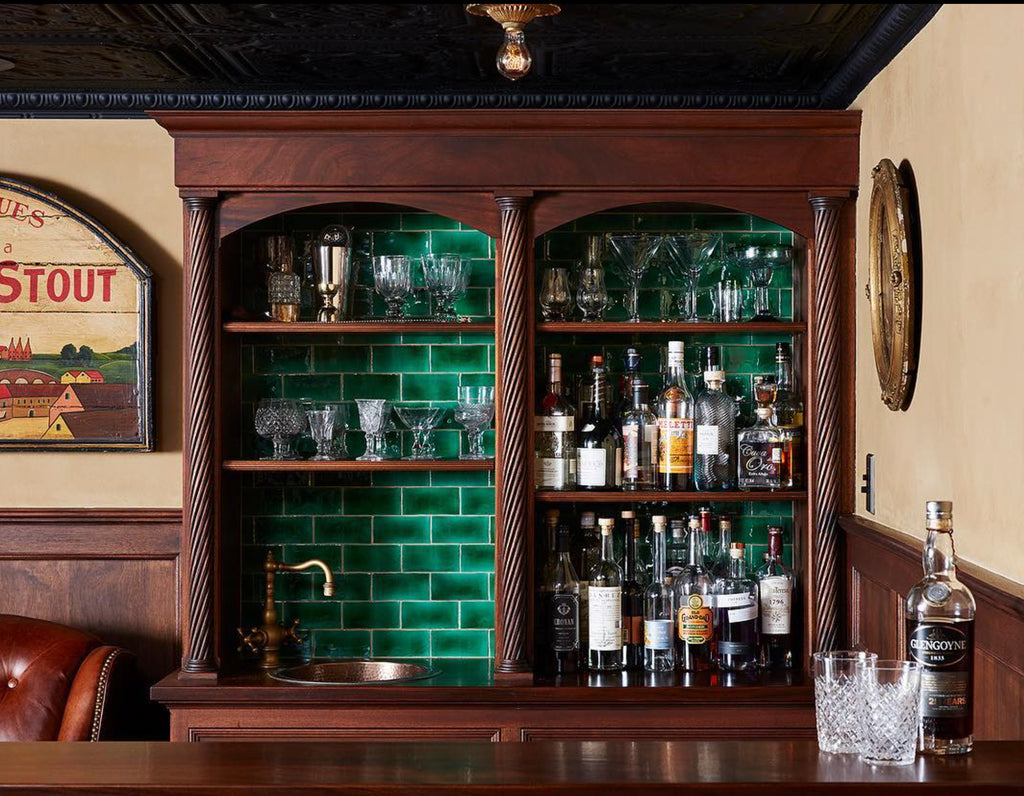 craftsman style wet bar tile