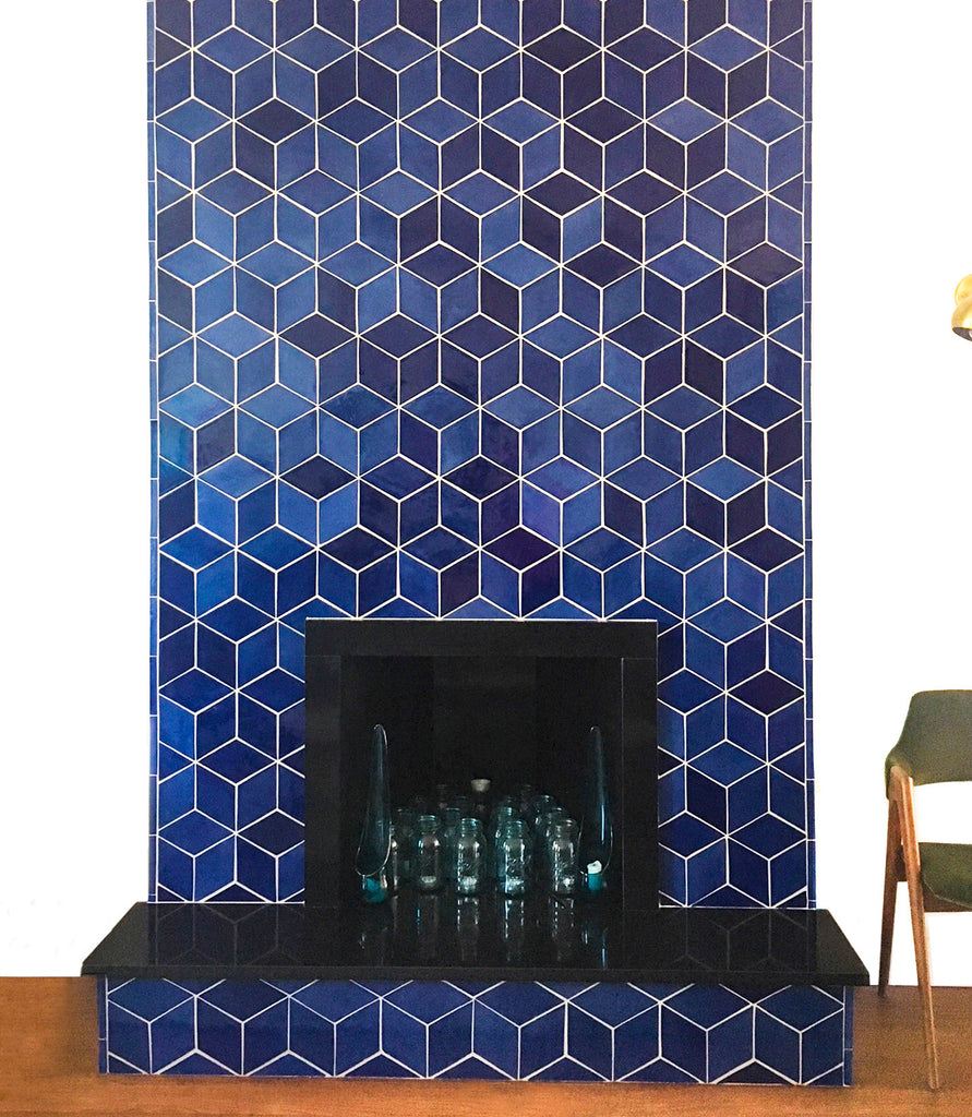 blue contemporary fireplace tile